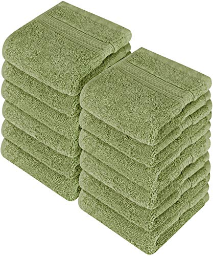 Utopia Towels Cotton Washcloths, 12 Pack, 700 GSM, Sage Green