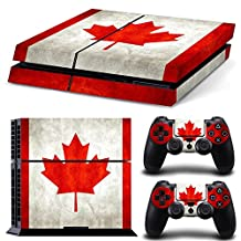 Chickwin PS4 Vinyl Skin Full Body Cover Sticker Decal For Sony Playstation 4 Console & 2 Dualshock Controller Skins (Flags Canada)