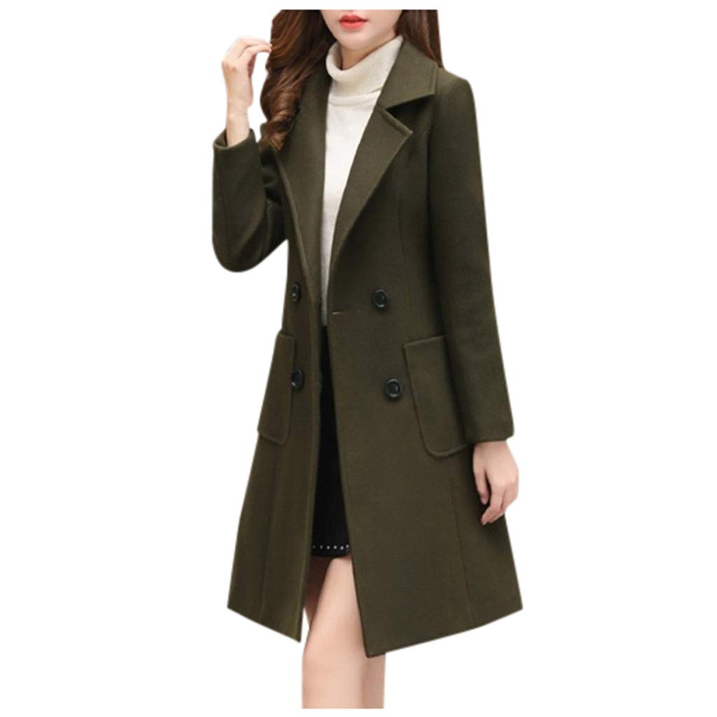 Eoeth Womens Solid Button Cardigan Winter Lapel Long Trench Coat Jacket Ladies Overcoat Outwear Windbreaker with Pocket Army Green by Eoeth