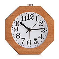 BABAN Octagon Alarm Clock Handmade Creative Classic Small Wooden Silent Lazy Bedside Clock for Home Office Living Room Bedroom Decor Gift(Sapele Color)