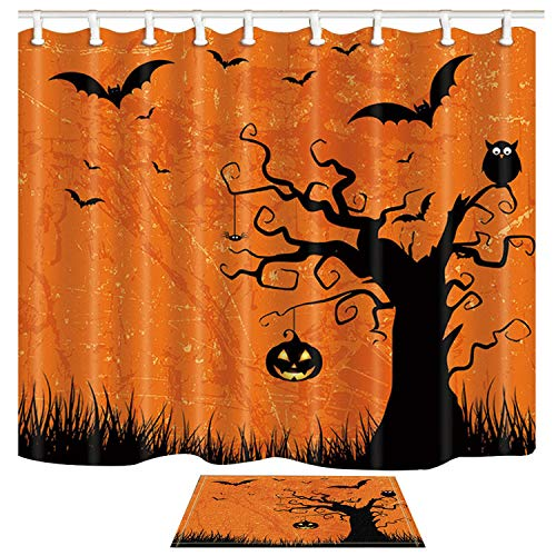 ChuaMi Polyester Fabric 69 x 70 inches Shower Curtain Set with Hooks Mildew Resistant Waterproof Bath Decoration Curtain Suit with 40 x 60cm Non-Slip Floor Mat Bath Rug (Halloween Party Set)