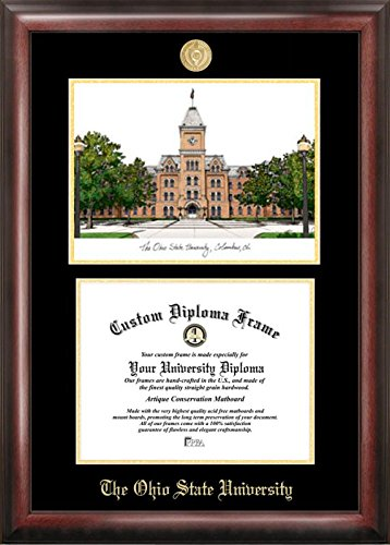 Campus Images OH987LGED Ohio State University Embossed Diploma Frame with Lithograph Print, 8.5