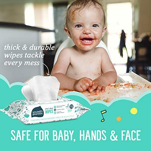 51vY63CDhAL. AC - Seventh Generation Baby Wipes, Free & Clear With Flip Top Dispenser, 504 Count