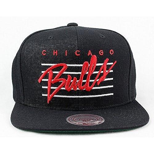 3177d39b47f ... canada chicago bulls hat nba authentic mitchell ness cursive retro  script snapback black basketball cap adult