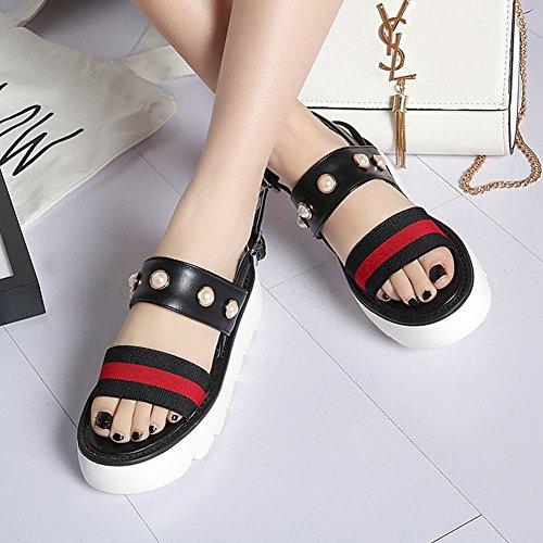 de plataforma perla Zapatos la de Mee zapatos mujer la imitación Chic Negro la sandalias de de las de hebilla de wqBIq1R
