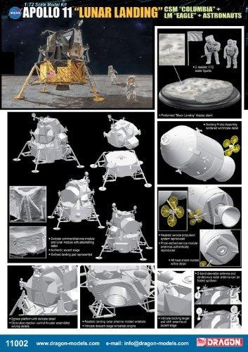 "Dragon Models 1/72 Apollo 11"" Lunar Landing - CSM Columbia +"