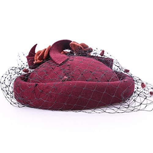 kyprx Tocado Sombrero de Lana Banquete Europeo y Americano pequeño ...