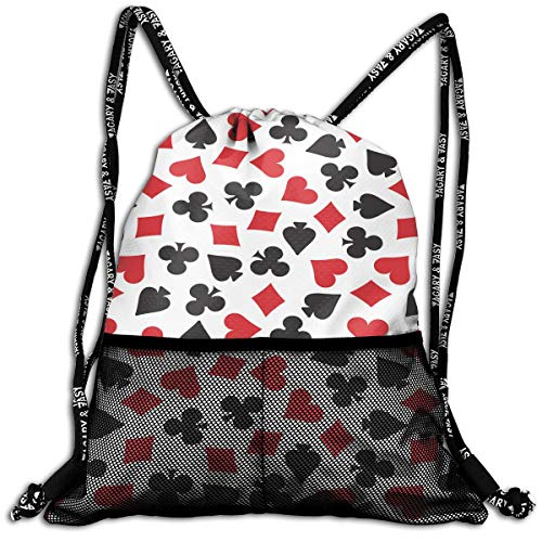 ANYWN Playing Card Suit Casino Pattern Drawstring Backpack Bags Rucksack with Mesh Pockets for Gym School]()