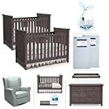 Nursery Furniture for Twins - 9-Piece Set - 2 Convertible Cribs, 2 Crib Mattresses, 2 Toddler Conversion Kits, 1 Sea Blue Glider, 1 Dresser, 1 Changing Top - Grey/Gray