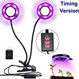 MG MULGORE Grow Light 12W Dual-lamp Plant Light 2017 Upgrade Version 3 Modes Timer(3H/6H/12H) Included 2A Adapter 36 LEDs Adjustable 4 Levels Plant Grow Lamp Lights Bulbs with Flexible 360 Degree Gooseneck for Promote Plant Growth Indoor Plants Hydroponics Greenhouse Gardening