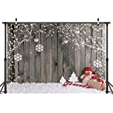 LYWYGG 7X5FT Christmas Backdrop Snow Floor Photo Backgrounds Wooden Wall Photography Backdrops for Child CP-70