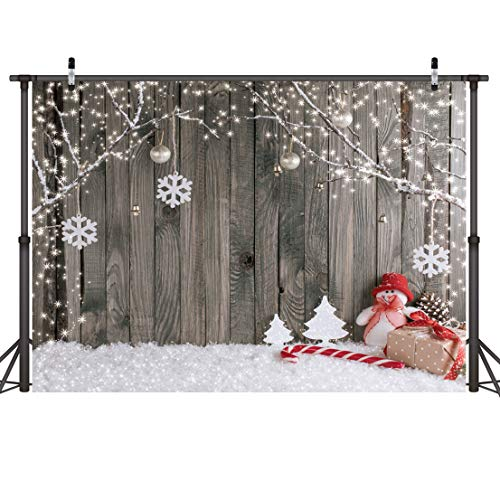 (LYWYGG 7X5FT Christmas Backdrop Snow Floor Photo Backgrounds Wooden Wall Photography Backdrops for Child)