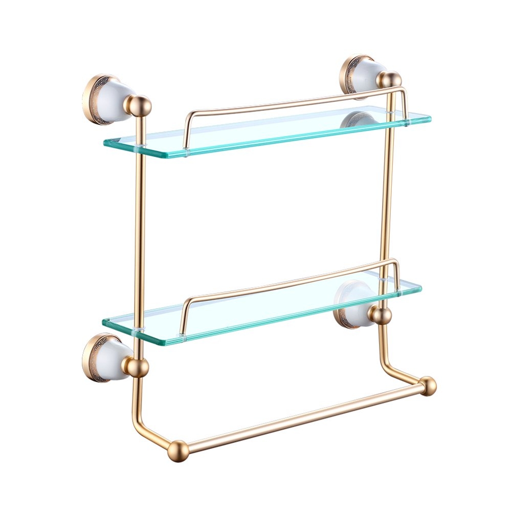 WENZHE Over toilet Bathroom Shelf Rack Washroom Shower Wall Mounted Corner Dressing Table Glass Punch/Punch-free, 2 Layer, 2 Colors storage organizer (Color : Gold-55082450mm)