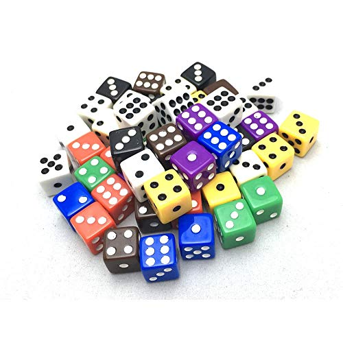 (Smartdealspro 50-Pack D6 Six Sided 12mm Opaque Dice Die-Random Color(at Least 5 Colors))