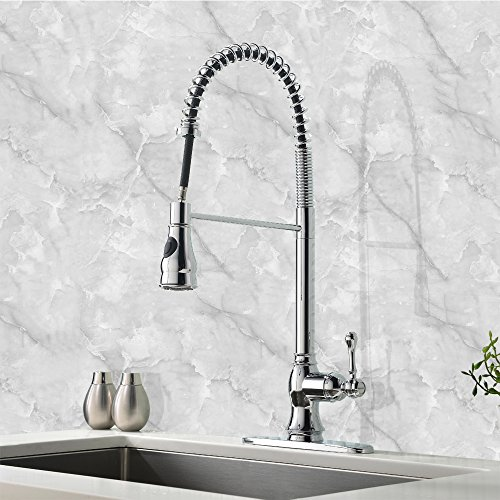 Modern High Arch Stainless Steel Plumbing Spiral Single Handle Commercial Pull Out Sprayer Kitchen Sink Faucet, Chrome Pull Down Kitchen Faucet - smallkitchenideas.us