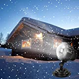 Syslux Snowfall LED Christmas Lights Projector, Remote Control Indoor Outdoor Holiday Lights Rotatable Snowflake for Christmas Halloween Wedding Home Party Garden Landscape Wall Decorations