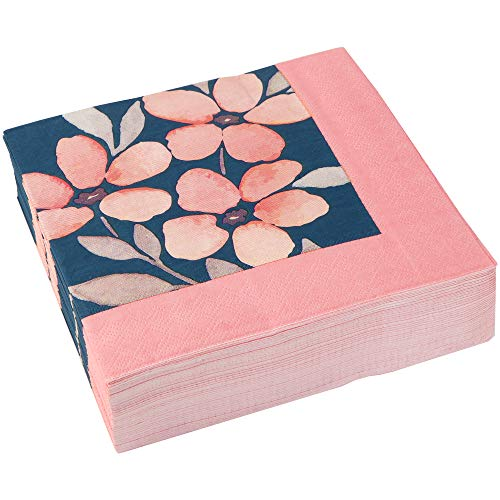 C.R. Gibson Navy Blue and Pink Flowers Dessert and Luncheon Napkins, 40pc, 6.5'' W x 6.5'' -
