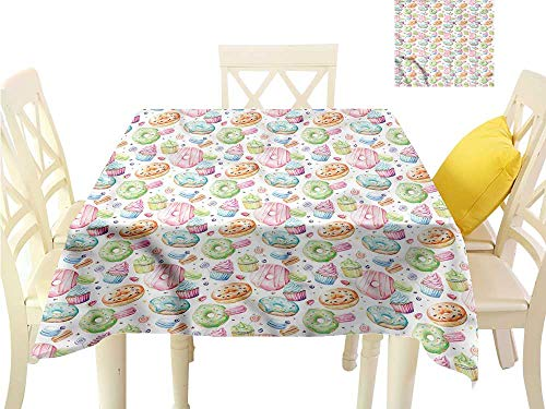 WilliamsDecor Christmas Tablecloth Colorful,Watercolor Sweets Waterproof Table Cloth W 36