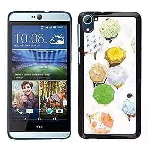 LECELL--Funda protectora / Cubierta / Piel For HTC Desire D826 -- Paraguas Otoño Pintura Blanca --