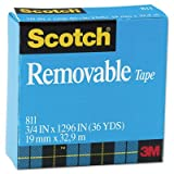 Scotch Products - Scotch - Removable Tape, 3/4'''' x 1296'''', 1'''' Core - Sold As 1 Roll - Matte finish tape features unique adhesive that holds paper securely, yet is easy to remove or reposition. - Pulls off the roll smoothly and cuts easily. - Resists spli