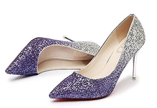 Violet Brillant Multicolore Escarpins Mariage Femme Aisun Paillettes nazqY08xf
