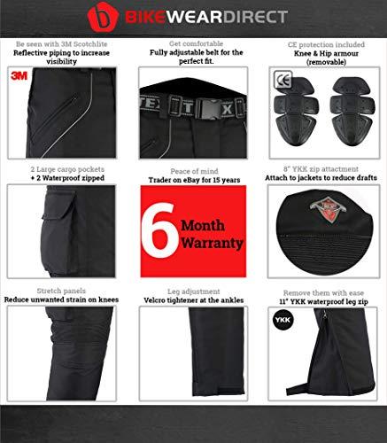 W50 L30 Huge Size Range Texpeed All Black Waterproof Armoured Motorcycle//Motorbike Trousers