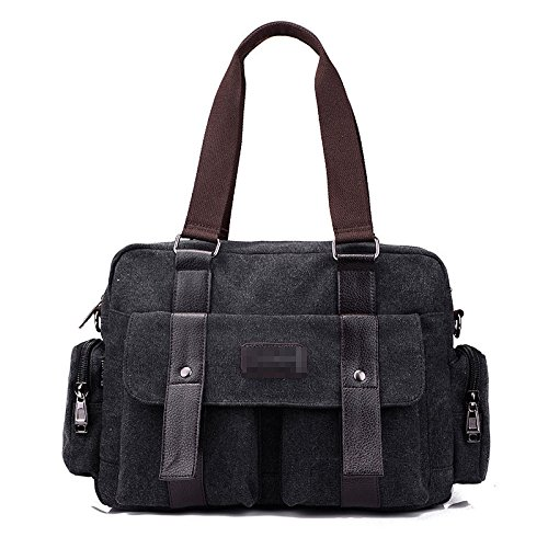 Casual Canvas Shoulder Messenger Boy Men Outdoor Travel Bags Crossbody Satchel Zipper Pocket Multi Black