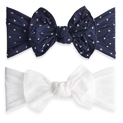- Baby Bling Bow 2 Pack: Shabby Dot and Classic Knot Girls Baby Headbands - MADE IN USA - Navy Dot/White