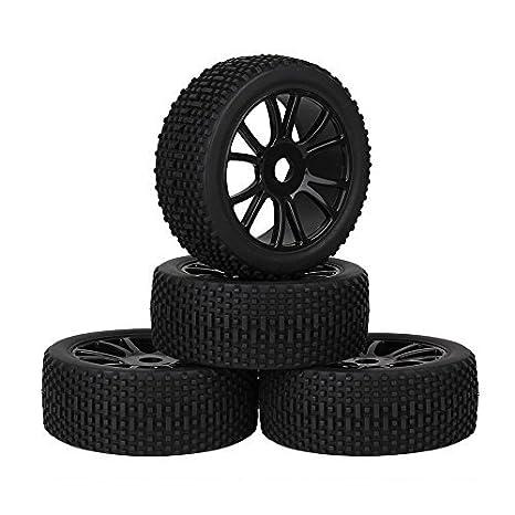 Youzone RC 1: 8 negras de 12 radios Llantas de plástico patrón de ruedas Llantas