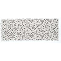 VHC Brands Farmhouse Tabletop & Kitchen - Calistoga White Fringed Printed Tobacco Cloth Runner, 13 x 36