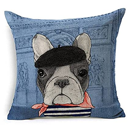 cake_pil Funda de Almohada Decorativa para Perro, Diseño de Bulldog Francés, Color Azul