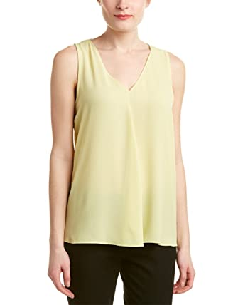 Vince Camuto Women's Sleeveless V-Neck Drape Front Blouse Shadow Green  Blouse XS