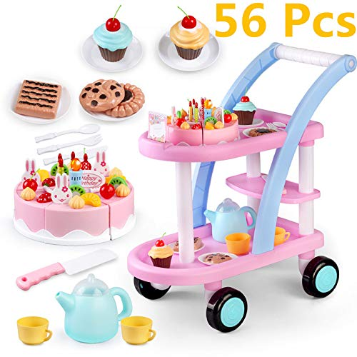 KKING Birthday Party Cake Play Cart Set -Birthday Gift Children's Day Gift Play Food Cake Toy Set DIY Pretend Cutting Cake Toys 56 Pieces for 3+ Kids (Flashing Candle Included) by KKING (Image #9)