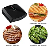 Aicok Grill 2-Serving Nonstick Electric Grill, Panini Press Grill Sandwich Maker, 1000W Fast Cooking