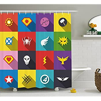 Amazon.com: Ambesonne Superhero Shower Curtain by, Characters with ...