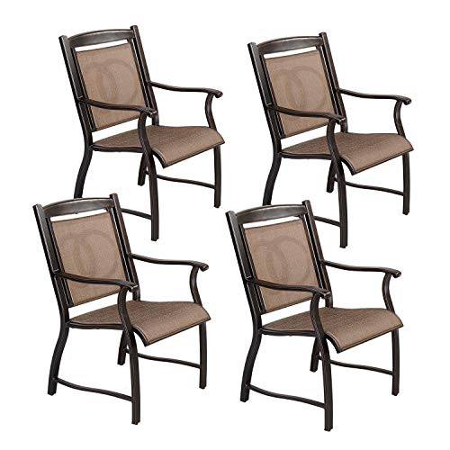 CW Chair Cast Aluminum Dining, Rust-Free Outdoor Patio Bistro Chairs with Armrest for Lawn Garden Backyard, Set of 4, Brown