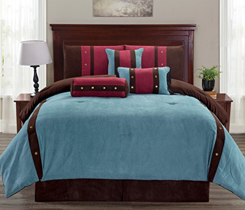 Legacy Decor 7 pc Micro Suede Teal, Brown and Burgundy Striped Comforter Set with Button Accents, King Size