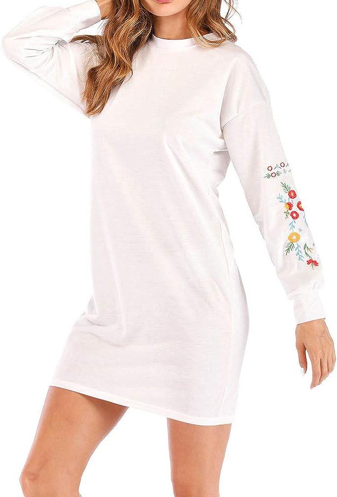 Lulupi Pulloverkleid Damen Blumenmuster Sweatshirt Jumper Kleid Longpullover Herbst Winter Langarm Minikleid Feinstrick Pulli