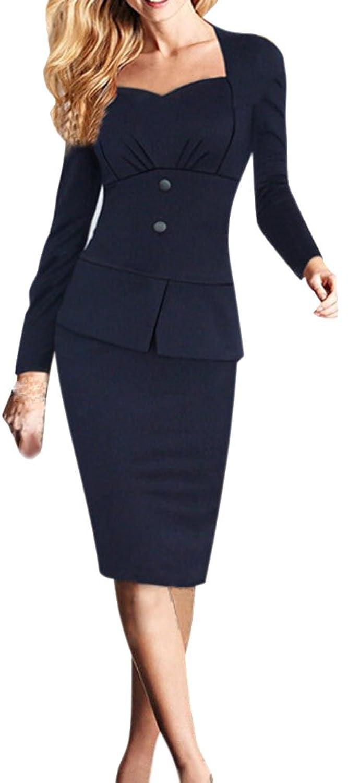 Lecheers Damen Sexy Elegant Langarm BüroDame Etui Casual Business Cocktail Party Kleid