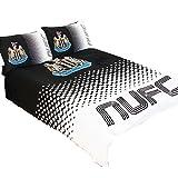 Newcastle United FC Official Fade Reversible Football Duvet Cover Bedding Set (Full Bed) (Black/White)