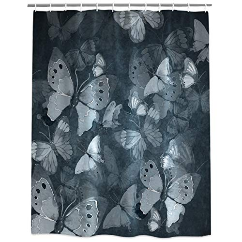 InvisibleWings Gray Series Hand Drawn Butterfly Shower Curtain Decoration Mildew Waterproof Polyester Fabric Machine Washable Bathroom Bath Curtain 66