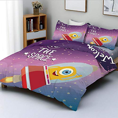 Duplex Print Duvet Cover Set Full Size,Welcoming Quote Print with Retro Mascot Vessel Traveling in Milky WayDecorative 3 Piece Bedding Set with 2 Pillow Sham,Purple Blue,Best Gift for Kids & Adult