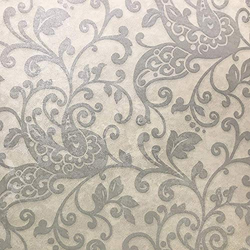 76 sq.ft roll Made in Italy Portofino Textured wallcoverings Modern Embossed Vinyl Wallpaper Ivory Gray Cream Silver Metallic Rustic Damask Faux Wool Vintage Victorian Design Wall Covering strippable ()