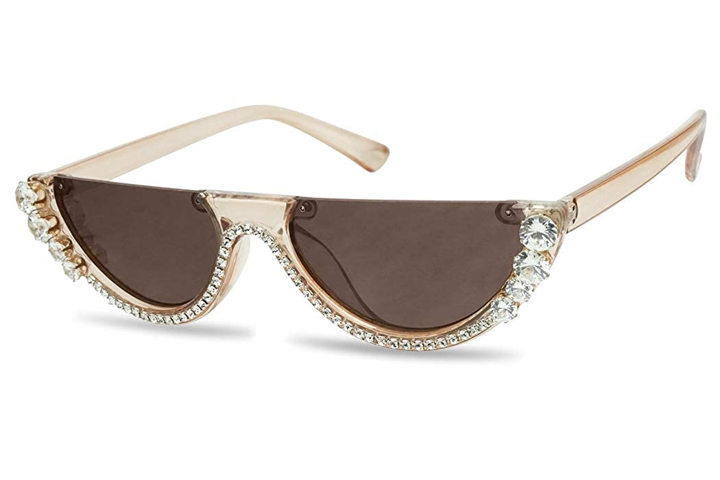 3c79a468c1ec SunglassUP Half Moon Diamond Studded Rhinestone Sunglasses Semi-Rimless  Embellished Cat Eye Clout Frame