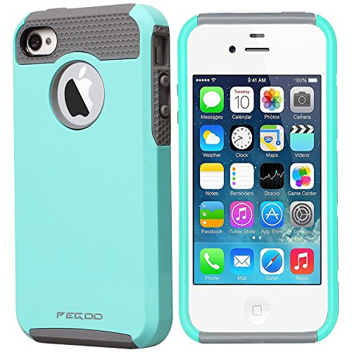 Price comparison product image iPhone 4S Case, High Impact Resistant Rugged Armor Heavy Duty Protection Hybrid Dual Layer Hard Plastic and Soft TPU Shockprooof Case for iPhone 4 4S (Green Gray)