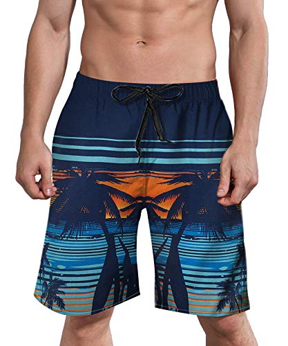 ALISISTER Mens Summer Shorts Funny Swim Trunks Quick Dry 3D Coconut Swimwear 60S Clothes Navy with Pocket XL]()