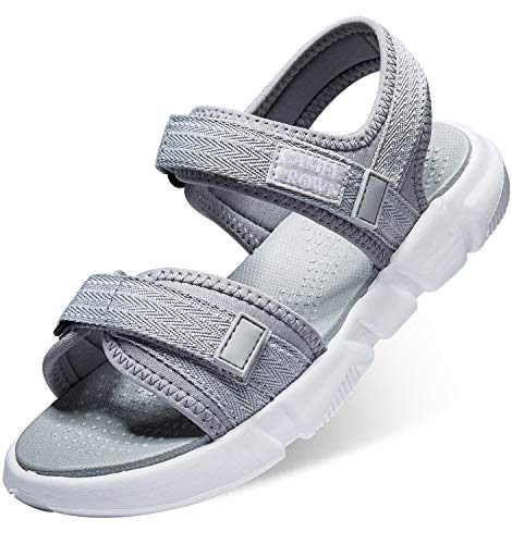 (CAMELSPORTS Women's Comfortable Athletic Sandals Summer Water Shoes Velcro Strap Beach Sandals for Causal Travel Outdoor Sports Walking Grey Size 7.5 )