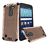 Gold Brushed Metallic Designer Hybrid Premium Dual Case Cover for LG Treasure (L51AL) (L52VL) (L51G) (Straight Talk, Net10, Tracfone, Walmart) with Free Gift Reliable Accessory Pen