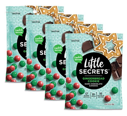 Little Secrets All Natural Fair Trade Gourmet Chocolate Candy - GingerbreadCookie Dark Chocolate {5 oz., 4 Count} - The World's Most Unbelievably Delicious Chocolate Candies
