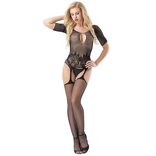 537a4b8766 Potato001 Womens Floral Lace Fishnet Open Crotch Bodystocking Sexy Lingerie  (Black)